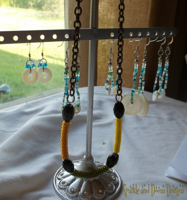 Mother of Pearl Earrings and crocheted beads!
