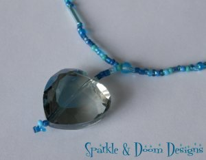 Blue Crystal Heart Necklace (closeup)