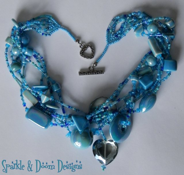 Multistrand Ceramic Bead Necklace with Crystal Heart