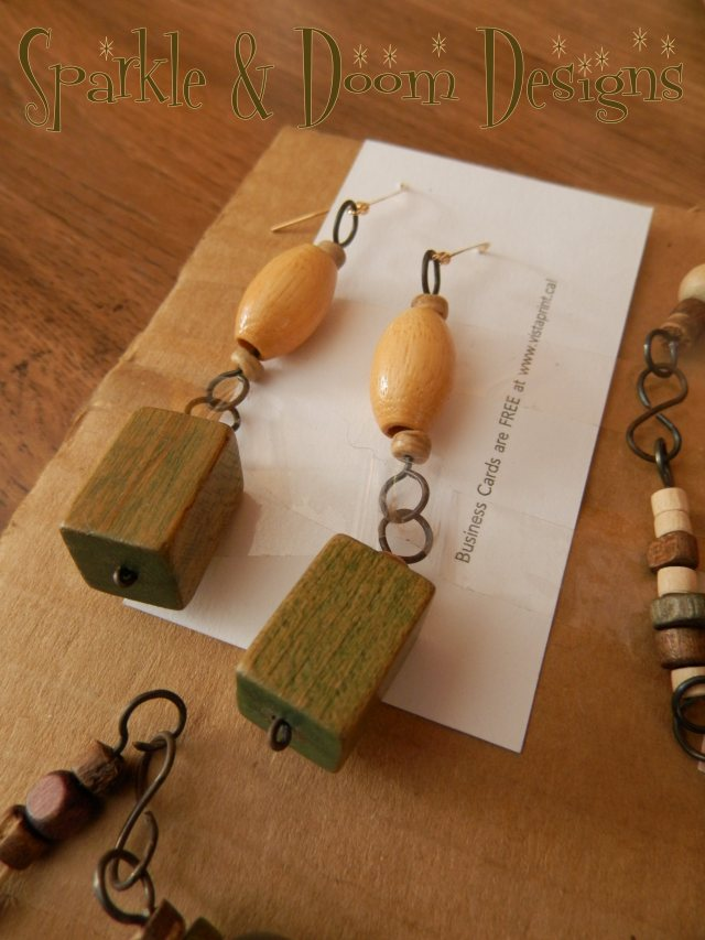 Wood beads and wire earrings