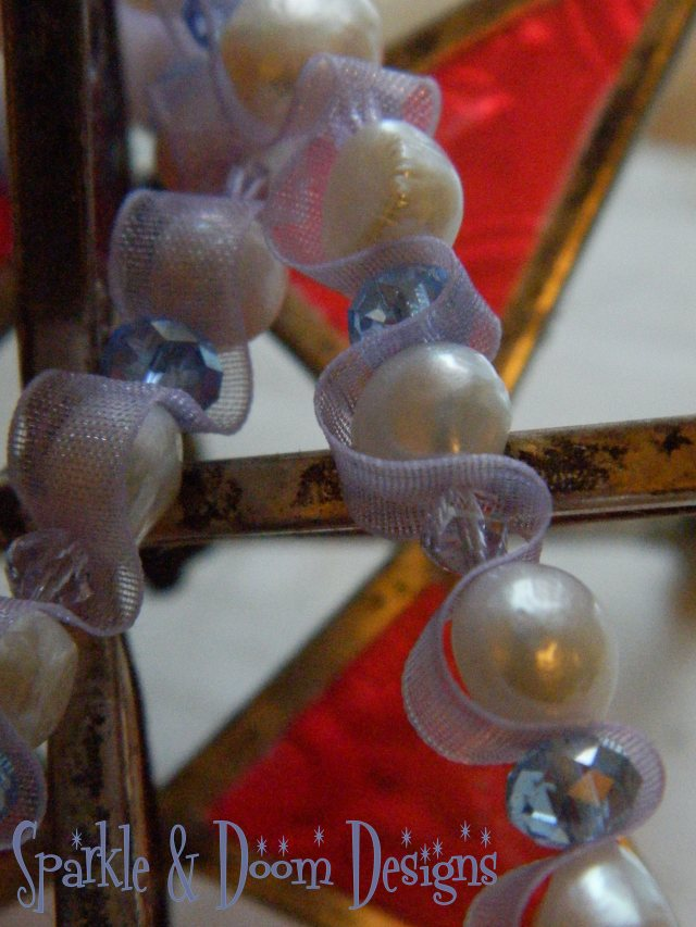 mauve ribbon, fresh water cultured pearls, lilac helix swarvoski crystals, periwinkle crystals