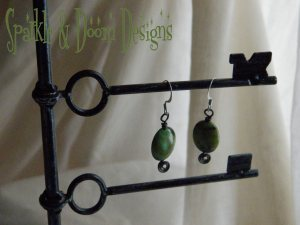 teal & lime coloured jasper earrings