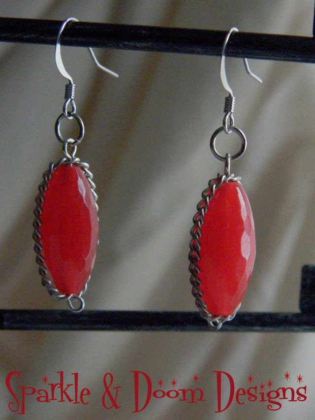 Sparkle&DoomDesigns ruby and chain earrings