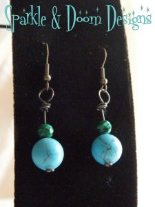 turquoise and faceted malachite earrings