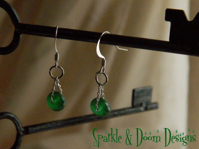 Sparkle&Doom Designs emerald and chain earrings