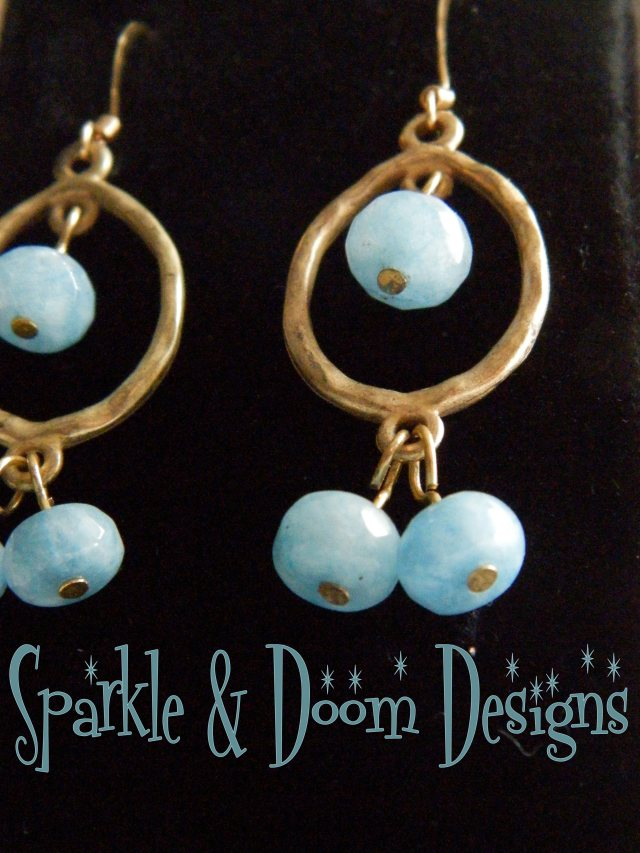 Sparkle&DoomDesigns aquamarine and gold earrings