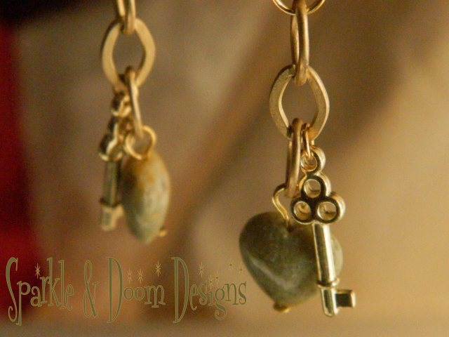 Sparkle and Doom agate and key earrings