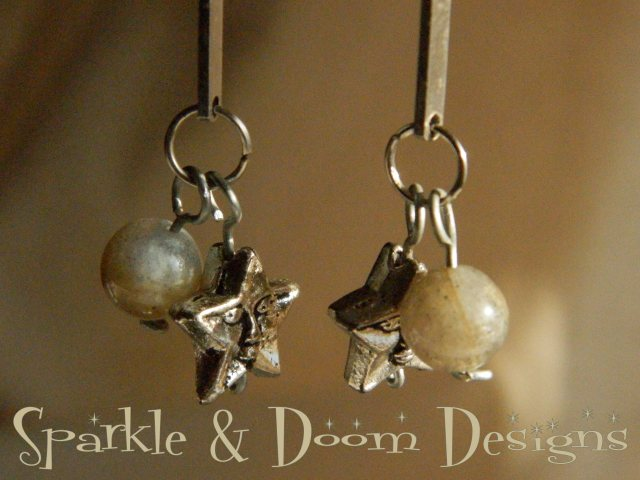 Sparkle and Doom Moon and stars earrings Labradorite