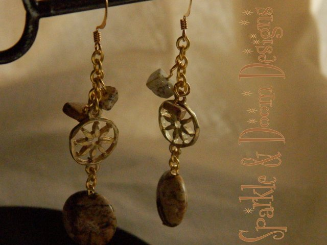jasper coin earrings