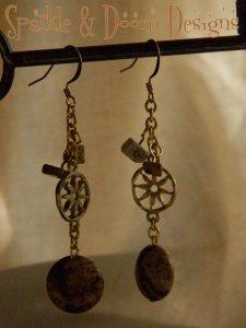 Sparkle and Doom jasper coin earrings