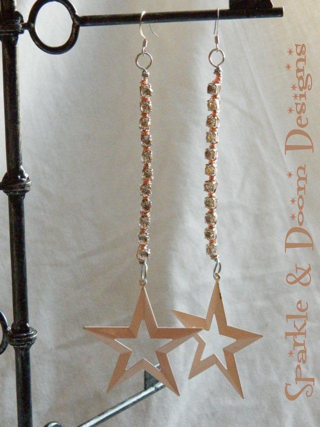 Sparkle&DoomDesigns retro stars and rhinestone earrings