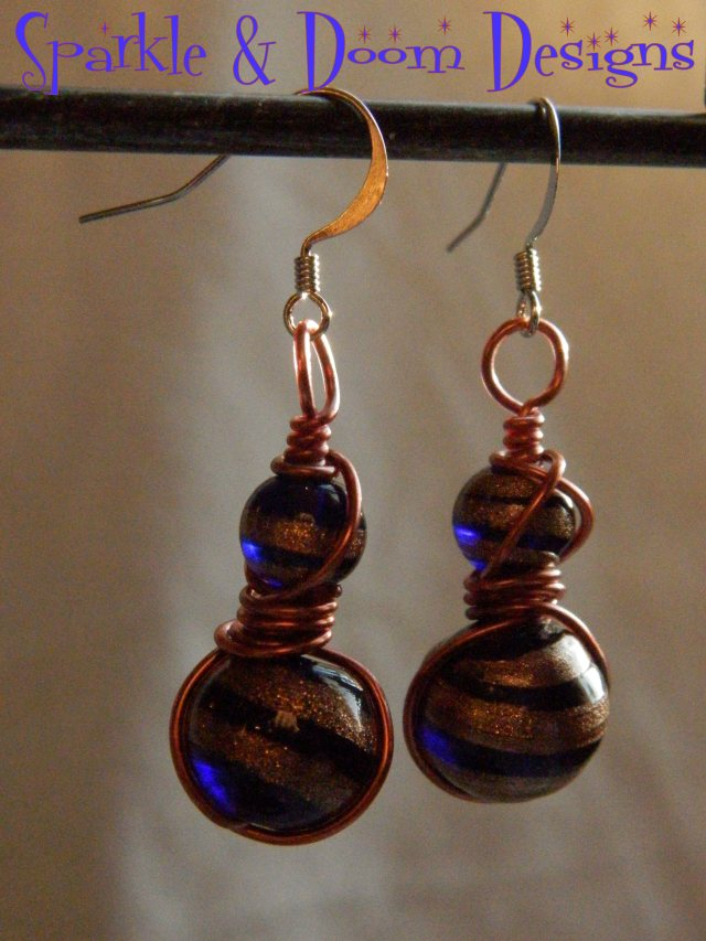 Blue and bronze lampwork bead earrings