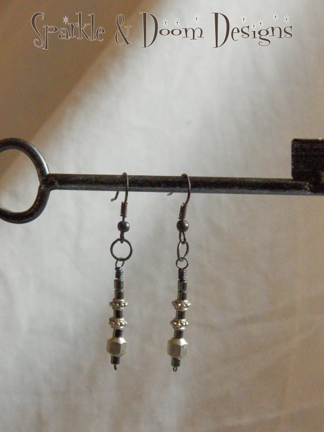 thrifted steel & hematite earrings