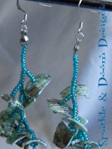Sparkle&DoomDesigns teal shell earrings