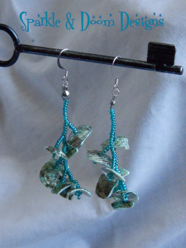 Teal Shell Branches Earrings
