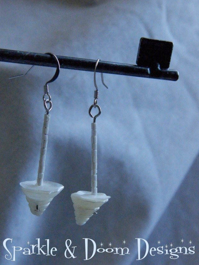 White on White Shell Earrings