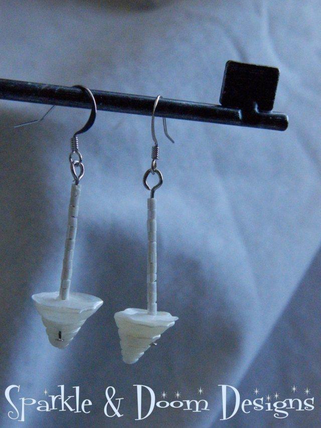 White on White Shell Earrings