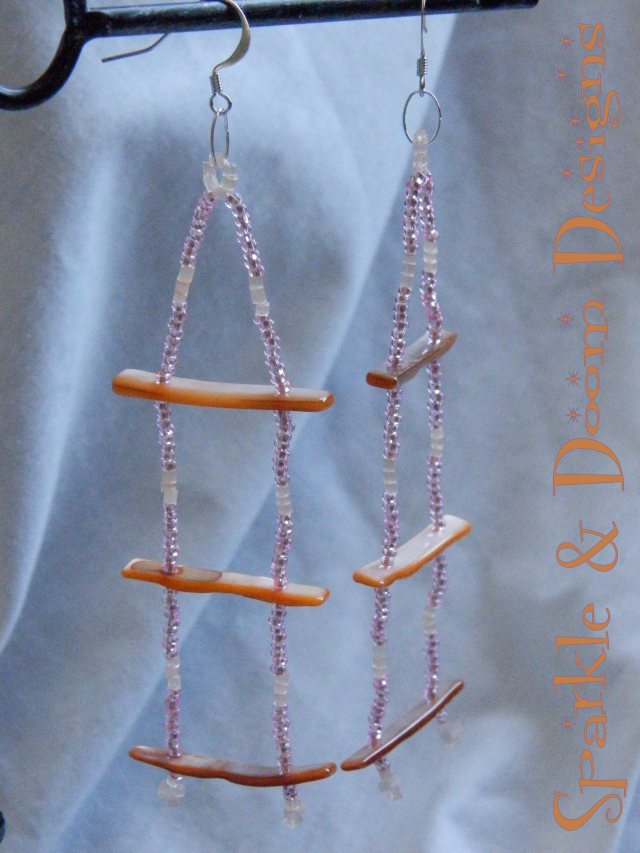 orange and pink shell ladder earrings