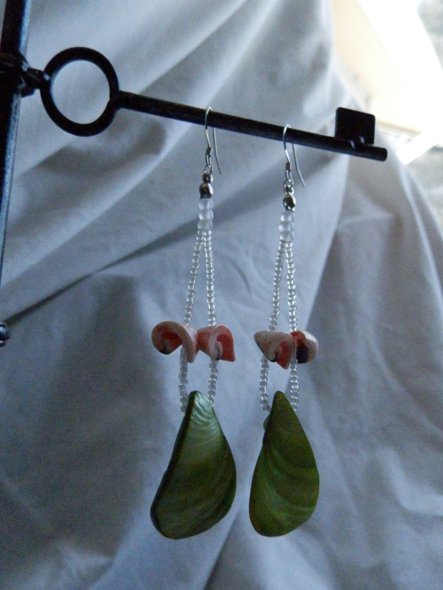 Dyed green mop tear drops and pink swirl shell earrings