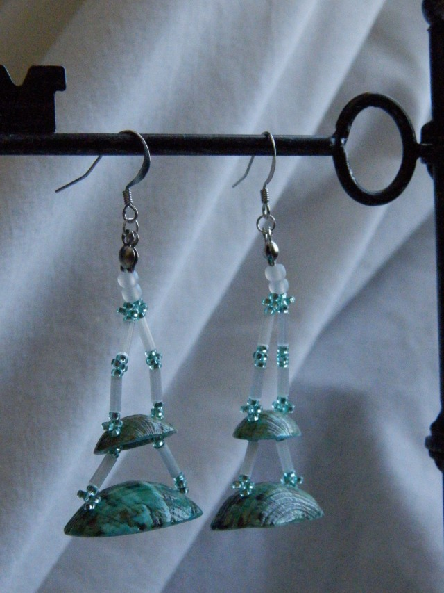 white satin bugle beads and teal shell earrings