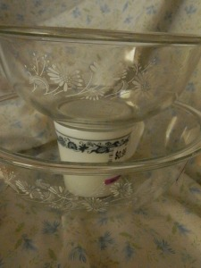 Clear Colonial Mist mixing bowls and Old Town mug