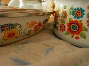 almost matching enameled pots