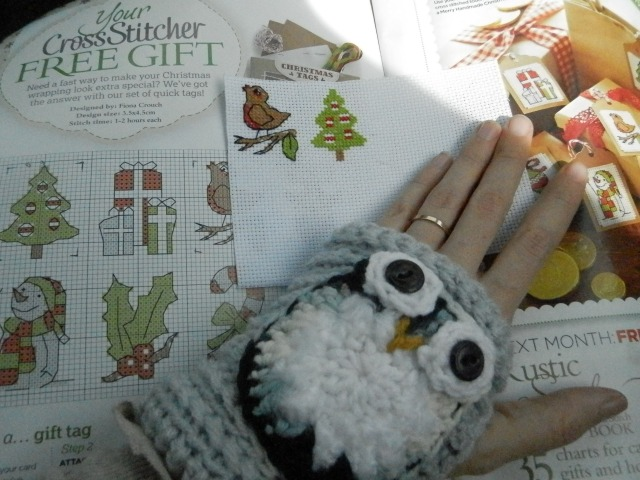 Sparkle & Doom Designs: Owl wristwarmers and crossstitch