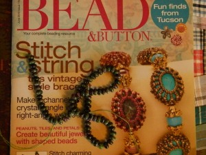 Bead & Button magazine and ruby zoisite beads