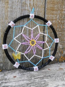 Purple Flower Dreamcatcher with Yellow Glass Butterfly