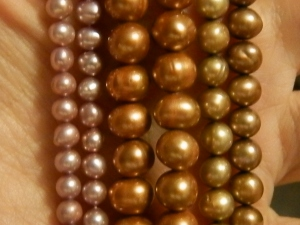 beautiful fresh water pearls in three shades