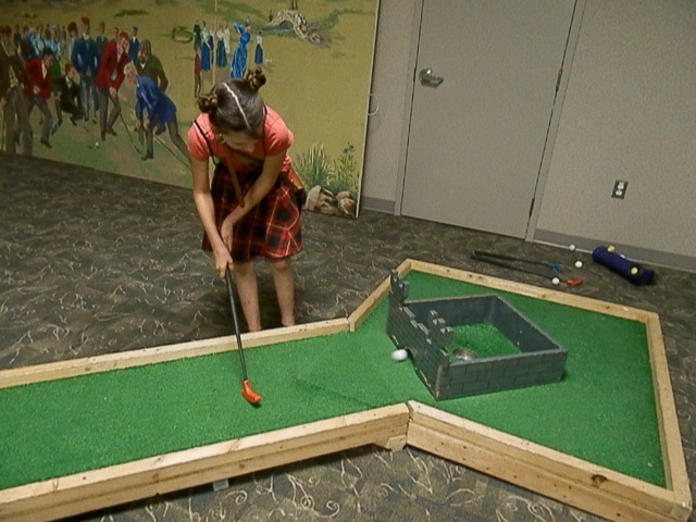 mini golfing the final hole