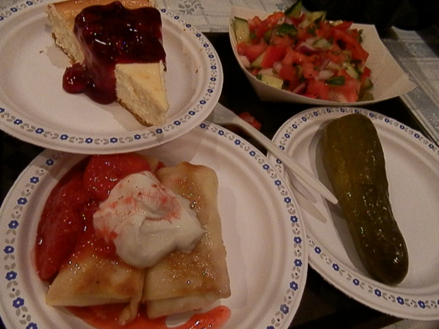 Last stop - Israel! Jewish Pavilion for some great music and cheesecake and pickles and blintzes and salad.