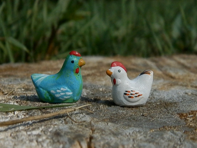 little wooden painted chickens {$1 each from a local flower shop}