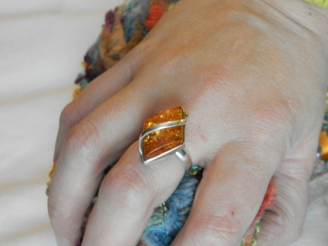 my Valentines Day present from my husband, amber & silver ring