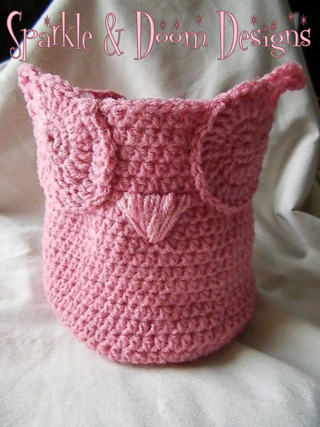 small owl basket {pattern by Crochet Ever After} - going into the shop!