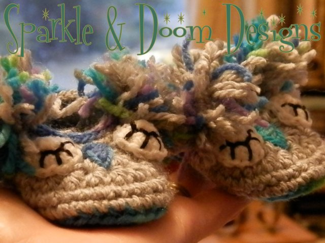 Newborn Owl Booties {for the shop}