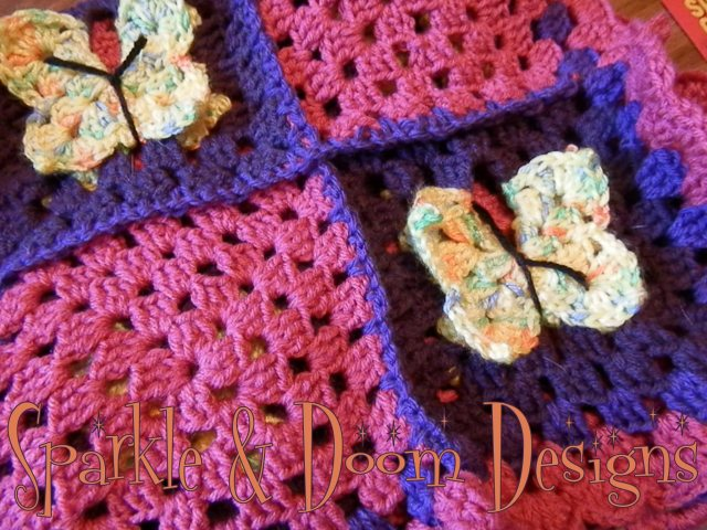 Golden Yellow Butterfly & pink/Purple Blanket {for Anna}