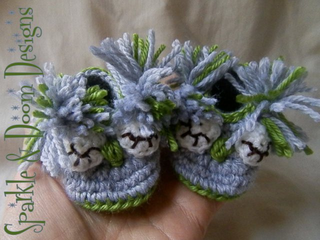 Owl Booties in Olive Green & Grey **custom order**