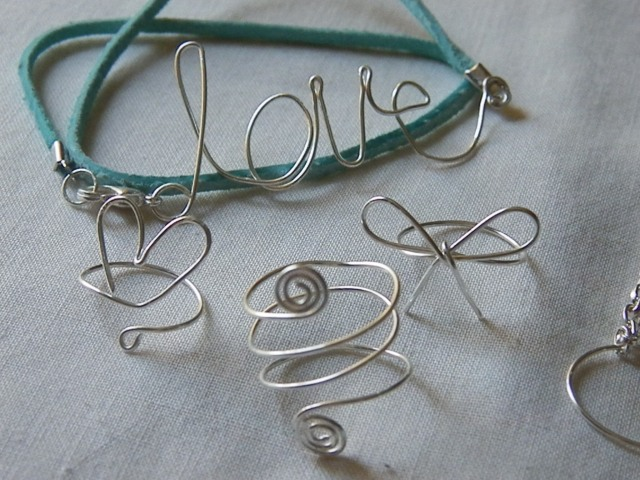 "Wire Words & Shapes"" Love wrap bracelet and rings"