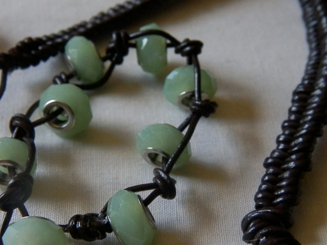 His & Hers Knotted Leather Bracelets: cute knotted beaded bracelet - summer neccessity