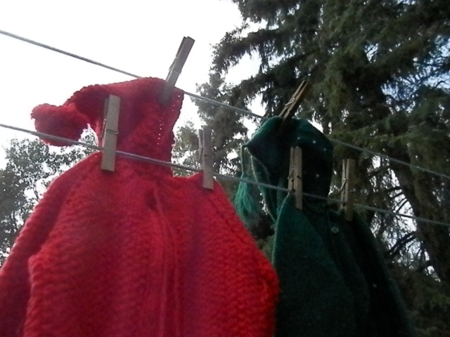 hooded sweaters.  The red one has a pompom and the green one tassels. Both thrift shop finds.