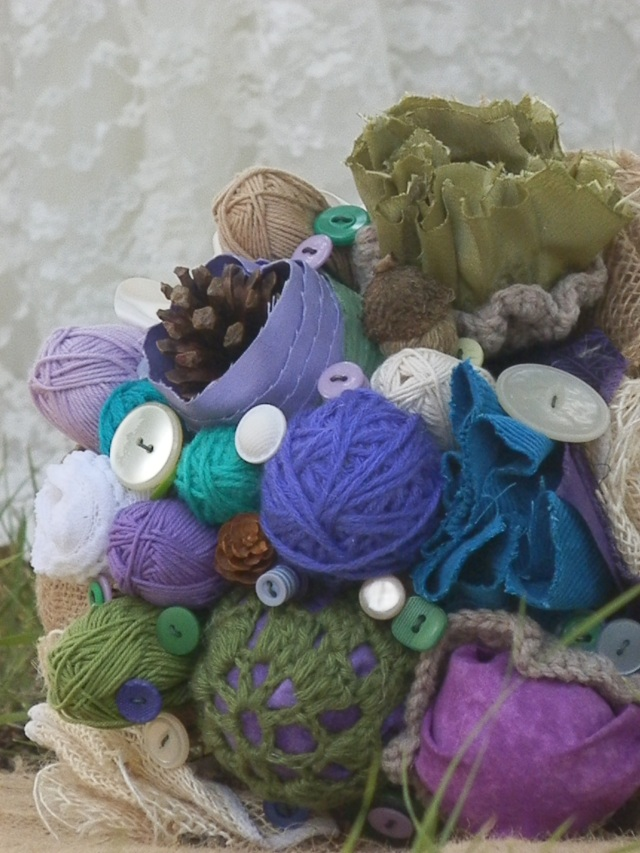bridal bouquet with yarn balls, buttons, burlap and pinecones