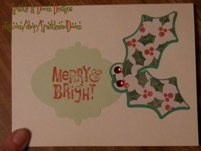 Holly paper with 2 jewel berries
