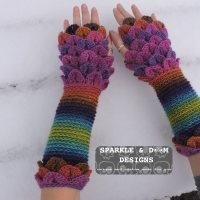 Crocodile Stitch Fingerless Mitts Ta Da!